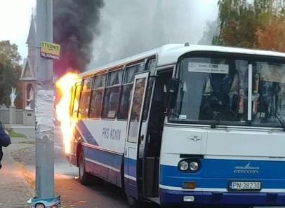 Pożar autobusu PKS przewożącego dzieci